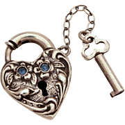 Walter Lampl Blue Rhinestone Sterling Puffy Heart Lock & Key Clasp