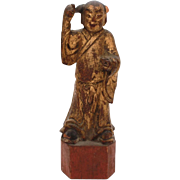 Antique Chinese Wood Carving of Man in Long Kimono, Cinnabar Red & Gold Paint, Small Chinese Wood Statue