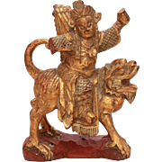 Antique Chinese Wood Warrior on Foo Lion, Hand Carved Wood Statue, Carving of Soldier with Quiver of Arrows in Cinnabar Red & Gold Paint, Small Chinese Wood Statue