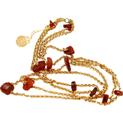 Amber Guild Necklace with Original Hang Tag, Chunky Genuine Amber Beads in Double Chain Necklace