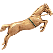 Gilded Sterling Horse Pin with Guilloche Enamel Details, Dressage Horse, Equestrian Jumping Horse Brooch