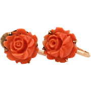 18k Carved Coral Rose Earrings, Salmon Coral Flower Screw Back Earrings