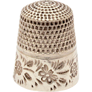 Sterling Thimble by Goldsmith Stern & Co with Stamped Flower Design
