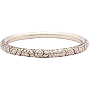 Vintage Sterling Tube Bangle Bracelet Hand Engraved Design of Swoops & Swirls