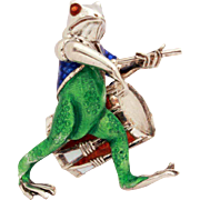 Frog Drummer Sterling Enamel Pin Toad Brooch Enameled Green, Red, White, & Blue