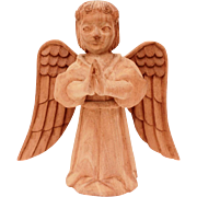Folk Art Carved Wood Angel, Raw Wood Carving of Angel with Wings Out and Hand s Up in Prayer