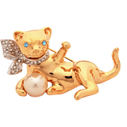 Kenneth Jay Lane Cat with Faux Pearl Ball Pin, KJL Kitten Pin, Playful Cat with Ball & Rhinestone Collar