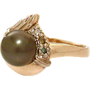 14k Gold Black Pearl & Diamond Ring - Blue & Chocolate Diamonds, Cultured Pearl, Size 8