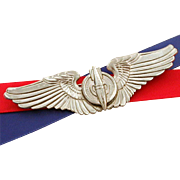 "WWII Bombardier Wings Sterling by Gemsco, 3"" Pilot Wings Pin, USAAC, USAF, World War II Air Force"
