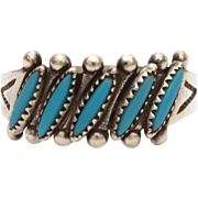 Bell Trading Post Ring Sterling Petit Point Turquoise, Zuni Tourist Era Ring, Zuni Petit Point Turquoise Ring
