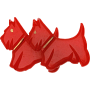 Red Bakelite Scottie Dogs Pin, Simichrome Tested Bakelite Brooch, Scotty Dogs Pin, Scottish Terrier Pin