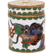 Tiny Cloisonne Enamel & Brass Trinket Box Chinese Dragon, Fire Breathing Dragon