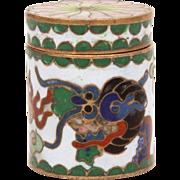 Tiny Cloisonne Enamel & Brass Trinket Box Chinese Dragon, Fire Breathing Dragon