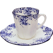 Shelley Dainty Blue Demitasse Cup & Saucer, Shelley Fine Bone China Demi Tasse