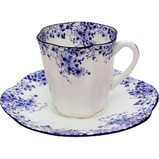 Shelley Dainty Blue Demitasse Cup & Saucer, Shelley Fine Bone China Demi Tasse