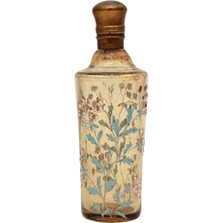 Antique Enameled Glass Perfume Bottle Hinged Gilded Lid & Stopper, Pale Amber Glass with Enamel Flowers