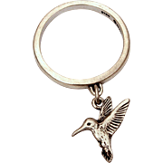 James Avery Sterling Hummingbird Dangle Ring, Size 5 1/2