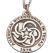 Rare James Avery 1976 Bicentennial in Texas Sterling Pendant Necklace with Paperwork & Box