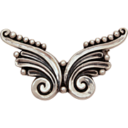 Margot de Taxco Sterling Butterfly Shape Pin, Vintage Mexican Silver Brooch, Mexico Sterling