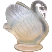 Sabino Swan Figurine, Opalescent Art Glass Paris France, French Art Glass, Small Swan