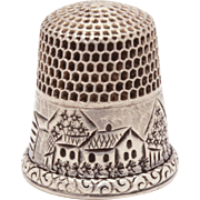Antique Sterling Scenic Thimble Stern Brothers - Engraved Village Scene, Houses, Mountains, Flowers