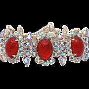 Large Ruby Red Cabochons & Aurora Borealis Rhinestones Bracelet