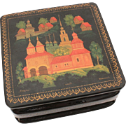 Russian Lacquer Box of Suzdal Russia Kremlin or Cathedral, Made in Kholui, Travel Souvenir