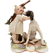 Capodimonte Child & Licking Dog Porcelain Bisque Figurine by Giuseppe Cappe Works of Art Italy, Calle Capodimonte
