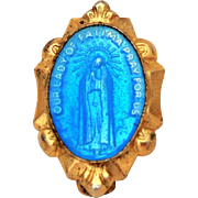 "Our Lady of Fatima Enamel Medal Pin, 5/8"" Miniature Catholic Devotional, Vintage Doll Size Jewelry, Blessed Virgin Mary, Catholic Medal"