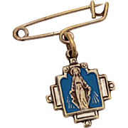 Blessed Mother Marion Cross Medal Dangle Pin, Blue Enamel Virgin Mary Pin, Catholic Medal