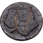 Victorian Leaf Button, Raised Leaf with Veins, Antique Black Glass Sewing Button, Black Flashed Glass Button