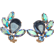 Blue Cabochon Rhinestone Earrings, Blue Aurora Borealis Clip On Earrings