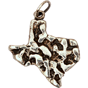 State of Texas Charm Sterling Nugget, Vintage Bracelet Charm or Small Pendant
