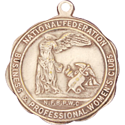 Medal by Weyhing Bros. Detroit, National Federation of Business and Professional Women's Club, NFBPWC Medal, Winged Victory of Samothrace, Greek Goddess Nike
