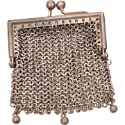 "Antique Doll Size Mesh Purse, Woven Chain Mail Chatelaine Purse, Edwardian Purse Pendant 2.75"", Coin Purse, Miniature Mesh Purse"