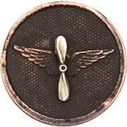 WWI Army Air Service Collar Disc Pin in Bronze with Silver Propeller, Collar Disk Aviation Pin
