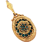 Gold Filled Photo Locket Necklace Pendant with Blue Glass Jewels by Plainville Stock Company PSCO