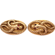 Antique Snake Cufflinks, Gold Filled Victorian Cuff Links, Coiled Snakes Red Gem Eyes