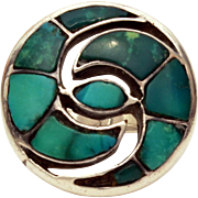 Native American Sterling Ring Inlaid Green Turquoise Yin Yang Style Swirled Design Size 7