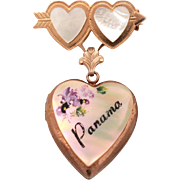 Panama Mother of Pearl Heart Locket Dangle Pin, Removable for Wear as Pendant, Travel Souvenir, MOP Hearts