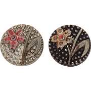 2 Antique Victorian Silver Luster Black Glass Sewing Buttons with Pink & Gold Flowers, Silver Flashed Buttons Look Like Cut Steel
