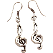 Sterling Musical Treble Clef Dangle Earrings, Vintage Pierced Earrings with Music Symbol Charms