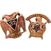 Masonic Lapel Pins, 32nd Degree Mason Eagle Pin by Gus Fox & Demolay Representative Pin by Balfour, Screw Back Pins