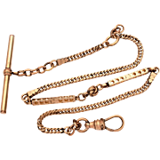 Antique Pocket Watch Chain with Long Hollow Elements & Love Knot Signed W&SB, Length 13.75""