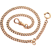 "Antique Gold Filled Pocket Watch Chain Signed C&R Co. GF Curb Link Chain 12.75"" Long"