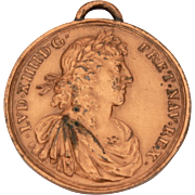 Antique Medal Marriage of Maria Theresa & Louis XIV King of France, Small Bronze Pendant Medal