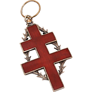 French Cross of Lorraine Red Enamel Medal, Large Medallion at 7.75""