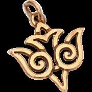 """14k Gold Descending Dove Bracelet Charm, Necklace Pendant, Vintage Peace Dove .75"""", Unsigned James Avery"""
