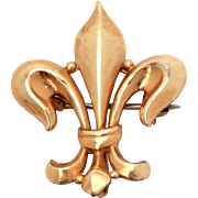 Fleur de Lis Watch Pin Gold Filled by Van Dell, French Fleur de Lis