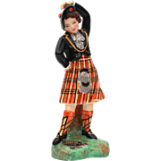 Wee Lassie in Royal Stewart Tartan Kilt Dancing Girl Figurine by Radnor Fine Bone China